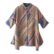 Women's large Autumn 2020 Wave pattern (blue) XL 2XL 3XL (for 140-155 kg) 4XL (for 155-170 kg) 5XL (for 170-185 kg) 6xl shirt singleton  commute easy moderate Cardigan elbow sleeve Abstract pattern ethnic style Polo collar Medium length silk Three dimensional cutting routine RRR2041 Lady Rui