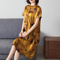 Women's large Autumn 2020 Big yellow ink flower XL 2XL (for 125-140 kg) 3XL (for 140-155 kg) 4XL (for 155-170 kg) 5XL (for 170-185 kg) 6xl Dress singleton  commute easy moderate Socket Short sleeve Abstract pattern ethnic style stand collar Medium length silk printing and dyeing routine R52233-2