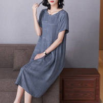 Women's large Spring 2021 Elegant grey XL (for 110-125 kg) 2XL (for 125-140 kg) 3XL (for 140-155 kg) 4XL (for 155-170 kg) 5XL (for 170-185 kg) 6xl (for 185-200 kg) Dress singleton  commute easy thin Short sleeve Solid color Simplicity Crew neck routine Lady Rui pocket longuette