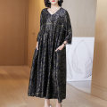 Women's large Spring 2021 black One size fits all (suitable for 120-150 kg) Dress singleton  commute easy Socket Long sleeves Decor ethnic style V-neck routine R6087 Lady Rui 30-34 years old longuette Other 100% Pure e-commerce (online only)