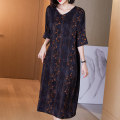Women's large Spring 2021 Decor (V-neck simple muslin dress) L (for 110-125 kg) XL (for 125-140 kg) 2XL (for 140-155 kg) 3XL (for 155-170 kg) 4XL (for 170-185 kg) Dress singleton  commute easy thin Socket elbow sleeve Decor Simplicity V-neck Medium length silk routine R21218 Lady Rui 35-39 years old