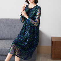 Women's large Autumn 2020 Dress singleton  commute easy moderate Socket Long sleeves Simplicity Crew neck routine Lady Rui Medium length Polyester 100% Pure e-commerce (online only)