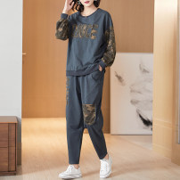 Women's large Autumn 2020 Gray blue XL 2XL (for 120-135 kg) 3XL (for 135-150 kg) 4XL (for 150-165 kg) 5XL 6xl T-shirt Two piece set commute easy moderate Socket Long sleeves Simplicity Crew neck routine Three dimensional cutting routine 8827T Lady Rui