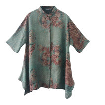 Women's large Autumn 2020 turquoise  XL 2XL 3XL (for 140-155 kg) 4XL (for 155-170 kg) 5XL (for 170-185 kg) 6xl shirt singleton  commute easy moderate Cardigan elbow sleeve Abstract pattern ethnic style Polo collar Medium length silk Three dimensional cutting Bat sleeve RR2041 Lady Rui Irregular skirt