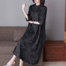 Women's large Spring 2021 black L (for 100-115 kg) XL (for 115-130 kg) 2XL (for 130-145 kg) 3XL (for 145-160 kg) Dress singleton  commute thin Socket three quarter sleeve Solid colors Retro stand collar silk routine R2108 Lady Rui 40-49 years old Medium length Mulberry silk 100%