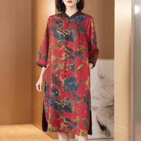 Women's large Autumn 2020 Big flowers with red background and big flowers with blue background XL (for 125-140 kg) 2XL (for 140-155 kg) 3XL 4XL 5XL 6xl Dress singleton  commute easy moderate Cardigan three quarter sleeve Plants and flowers ethnic style stand collar Medium length silk routine R18029
