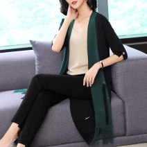 Women's large Winter of 2019 blackish green L XL 2XL sweater singleton  commute easy moderate Cardigan elbow sleeve Simplicity Hood Medium length routine Lady Rui Other 100%