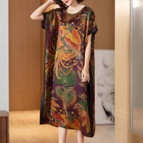 Women's large Autumn 2020 Picture color (phoenix pattern) XL 2XL (for 125-140 kg) 3XL (for 140-155 kg) 4XL (for 155-170 kg) 5XL (for 170-185 kg) 6xl Dress singleton  commute easy thin Socket Short sleeve Abstract pattern ethnic style Crew neck silk printing and dyeing Bat sleeve R79026 Lady Rui