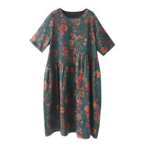 Women's large Autumn 2020 Blue (flower position is not fixed) One size fits all (135-185 kg) Dress singleton  commute easy moderate Socket Short sleeve Plants and flowers ethnic style Crew neck silk routine R8883 Lady Rui Medium length Mulberry silk 100% Pure e-commerce (online only)