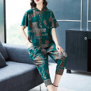 Women's large Summer of 2019 Green red black XL 2XL 3XL 4XL 5XL 6XL T-shirt Two piece set commute easy thin Socket Short sleeve Abstract patterns of plants and flowers Simplicity Hood routine printing and dyeing routine 9885T Lady Rui Pure e-commerce (online only) Ninth pants