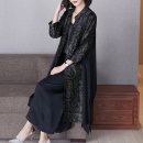 Women's large Spring 2021 black 2XL (for 110-125 kg) 3XL (for 125-140 kg) 4XL (for 140-155 kg) Dress Two piece set commute easy Cardigan Long sleeves Solid color ethnic style V-neck Medium length routine T6082 Lady Rui longuette Other 100% Pure e-commerce (online only) Ninth pants