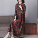 Women's large Spring 2021 Picture color (flower position is not fixed) 2XL (for 120-135 kg) 3XL (for 135-150 kg) 4XL (for 150-165 kg) Dress singleton  commute easy thin Socket three quarter sleeve Decor ethnic style stand collar silk routine RR8882 Lady Rui 35-39 years old longuette