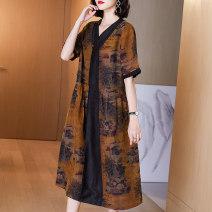 Women's large Spring 2021 Camel color (Xiangyun yarn) L (suitable for 90-105 kg) XL (suitable for 105-120 kg) 2XL (suitable for 120-135 kg) 3XL (suitable for 135-150 kg) 4XL (suitable for 150-165 kg) Dress singleton  commute thin Socket elbow sleeve Decor Retro V-neck Medium length silk routine R2070