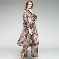Middle aged and old women's wear Summer of 2018 Picture color 2XL 3XL 4XL commute shirt easy Two piece set Cardigan thin Polo collar Medium length routine Lady Rui hemp Ramie 100% 96% and above Pure e-commerce (online only) three quarter sleeve Ninth pants ethnic style