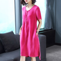 Women's large Summer 2020 Blue green pink apricot orange XL 2XL 3XL 4XL 5XL 6XL Dress singleton  easy thin Socket Short sleeve Solid color Crew neck Three dimensional cutting routine Lady Rui 35-39 years old Medium length Lyocell (Lyocell) 57.5% viscose (viscose) 42.5%