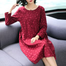 Middle aged and old women's wear Autumn of 2018 commute Dress easy singleton  Dot Socket moderate Crew neck routine Lady Rui cotton Cotton 50% modal 50% 31% (inclusive) - 50% (inclusive) Pure e-commerce (online only) Medium length Simplicity