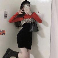 Dress Winter 2020 Inside, suspender dress s, suspender dress M Other sizes Short skirt singleton  commute High waist 18-24 years old Korean version C5605 30% and below