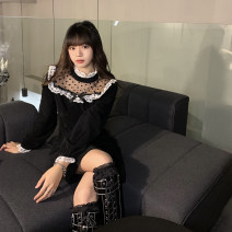 Dress Winter 2020 black Average size longuette singleton  Long sleeves commute Crew neck High waist Solid color Socket A-line skirt routine Others 18-24 years old Type A Korean version Splicing 30% and below polyester fiber