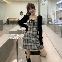 Dress Autumn 2020 Black grid, gray grid Average size Short skirt singleton  Long sleeves commute square neck High waist lattice Socket 18-24 years old Korean version 30% and below