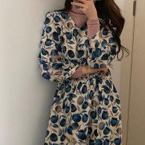 Dress Spring 2021 Tulip blue Average size Mid length dress singleton  Long sleeves commute V-neck High waist 18-24 years old Korean version 30% and below