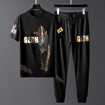 Leisure sports suit summer M L XL 2XL 3XL 4xl 5XL black Short sleeve Kacla / kazira yw95787t-95787k Spring 2020