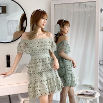 Dress Autumn of 2019 White, mint green XS,S,M,L Short skirt singleton  Short sleeve commute One word collar High waist Solid color zipper Cake skirt other Others Type A Korean version More than 95% Lace polyester fiber