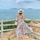 Dress Summer of 2019 Decor S,M,L Mid length dress singleton  Sleeveless Sweet V-neck High waist Decor zipper Irregular skirt other camisole Type A Bowknot, stitching, tie dyeing, lace, printing More than 95% Chiffon other Bohemia