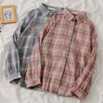 shirt Blue, pink Average size Spring 2020 polyester fiber 96% and above Long sleeves commute Medium length Polo collar Single row multi button routine lattice 18-24 years old Korean version Button