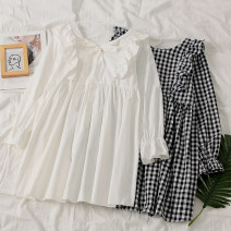 Dress Autumn of 2019 White, check Average size Mid length dress singleton  Long sleeves commute High waist pagoda sleeve 18-24 years old Korean version Bow tie More than 95% polyester fiber