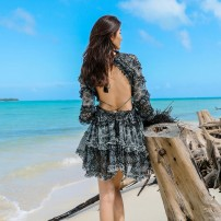 Dress Bohemia Short skirt Long sleeve singleton  Sweet Crew neck High waist Design and color Condom Ruffle Skirt Lotus leaf sleeve Type A Other Open back, agaric, lace up, print Chiffon Summer 2020 S,M,L