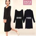 Dress Winter 2020 S,M,L,XL,2XL Mid length dress singleton  Long sleeves commute Half high collar middle-waisted Solid color Socket other routine Others 18-24 years old Type H Korean version 81% (inclusive) - 90% (inclusive) other cotton