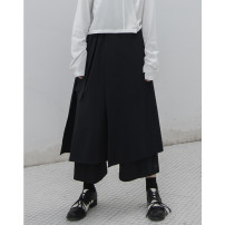 Casual pants black Average size Autumn 2020 Ninth pants Wide leg pants Natural waist commute routine 96% and above cotton Simplicity Collage cotton