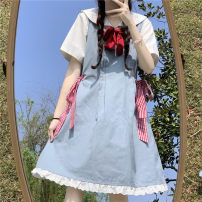 Dress Summer 2021 Denim blue Average size Middle-skirt singleton  Sleeveless Sweet Loose waist Solid color Socket Ruffle Skirt straps 18-24 years old Type A Other / other Embroidery 51% (inclusive) - 70% (inclusive) cotton college