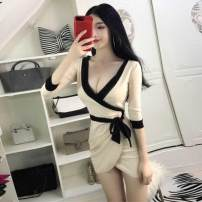 Dress Spring 2020 Apricot Average size Short skirt singleton  Short sleeve commute V-neck High waist Solid color Socket other routine Others 18-24 years old Other / other Korean version 31% (inclusive) - 50% (inclusive) polyester fiber
