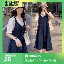 Women's large Summer 2020 Denim skirt suit M [within recommended 100], l [recommended 100-120], XL [recommended 120-140], 2XL [recommended 140-160], 3XL [recommended 160-180], 4XL [recommended 180-200] Dress Two piece set commute easy moderate Socket Short sleeve Solid color Korean version V-neck