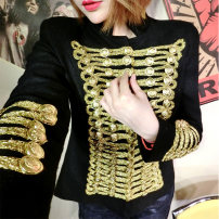 short coat Spring 2015 S,M,L,XL black Long sleeves routine routine singleton  Self cultivation street routine Crew neck double-breasted Solid color 18-24 years old Xinziqi 31% (inclusive) - 50% (inclusive) Bright silk, button, thread decoration xzq15060701 polyester fiber