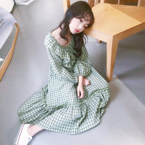 Parent child fashion Green grid, black grid Women's dress female Other / other 110cm,120cm,130cm,140cm,150cm,160cm,165cm(S-M) spring and autumn Korean version routine lattice skirt other M, S other 7, 8, 9, 10, 11, 12, 13, 14