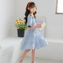 Parent child fashion wathet Women's dress female Other / other 120cm,130cm,140cm,150cm,160cm(S),165cm(M) summer leisure time routine skirt other M, S other 7, 8, 9, 10, 11, 12, 13, 14