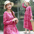 Dress Autumn of 2019 Rose red, blue M,L,XL,2XL Mid length dress singleton  Long sleeves commute Crew neck Loose waist Decor Socket other Others ethnic style 71% (inclusive) - 80% (inclusive) cotton