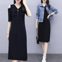 Dress Summer 2020 Short sleeve skirt + denim jacket L,XL,XXL,XXXL,XXXXL longuette Two piece set Long sleeves commute Crew neck middle-waisted Solid color Socket A-line skirt routine Others 25-29 years old Other / other Korean version jipAwhQF Denim other