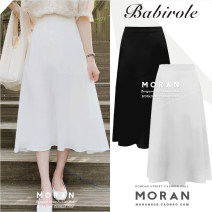 skirt Summer 2020 S,M,L,XL White, black Mid length dress commute High waist A-line skirt Solid color 18-24 years old Other / other Splicing Korean version