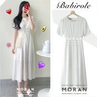 Dress Summer 2020 white S,M,L,XL Mid length dress singleton  Short sleeve Sweet square neck High waist Solid color zipper A-line skirt shirt sleeve 18-24 years old Other / other Chiffon other college