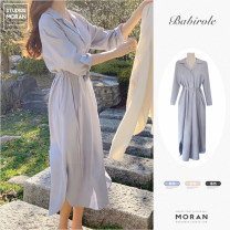 Dress Spring 2021 Apricot, light blue, black S,M,L,XL Mid length dress singleton  Long sleeves commute V-neck High waist Solid color Single breasted A-line skirt shirt sleeve 18-24 years old Other / other Korean version Ruffle, fold, lace, strap, button cotton