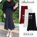 skirt Summer 2021 S,M,L,XL Black, white, red Mid length dress commute High waist skirt Dot 18-24 years old Ruffles, stitching, printing Korean version