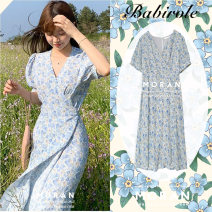 Dress Summer 2020 Blue, pink S,M,L,XL Mid length dress singleton  Short sleeve commute V-neck High waist Broken flowers other Big swing puff sleeve 18-24 years old Retro Bow, ruffle, lace, bandage, print