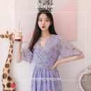 Dress Summer of 2018 violet S M L XL Mid length dress singleton  Short sleeve Sweet V-neck High waist Broken flowers Socket Big swing Lotus leaf sleeve