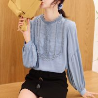Lace / Chiffon Autumn of 2019 White, blue, yellow S,M,L,XL,2XL Long sleeves commute Socket singleton  easy Regular Crew neck Solid color bishop sleeve Other / other Fold, splice Korean version