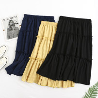 skirt Summer 2020 Big xl115 to 135 kg, big 2xl135 to 155 kg, big 3xl155 to 175 kg, big 4xl175 to 200 kg Navy, black, yellow Mid length dress Versatile High waist Cake skirt Solid color Type A 51% (inclusive) - 70% (inclusive) other cotton