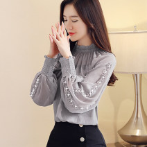 Lace / Chiffon Autumn of 2019 Grey [sling], bean paste [sling], purple [sling], black [skirt] S,M,L,XL,2XL Long sleeves commute Socket singleton  easy Regular Crew neck Solid color bishop sleeve 25-29 years old Hollowed out, pleated and embroidered Korean version 96% and above polyester fiber