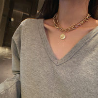 Necklace Alloy / silver / gold 10-19.99 yuan Other / other B-38 double portrait [gold] necklace, b-39 double portrait [silver] Necklace B-38 double layer portrait [gold] Necklace